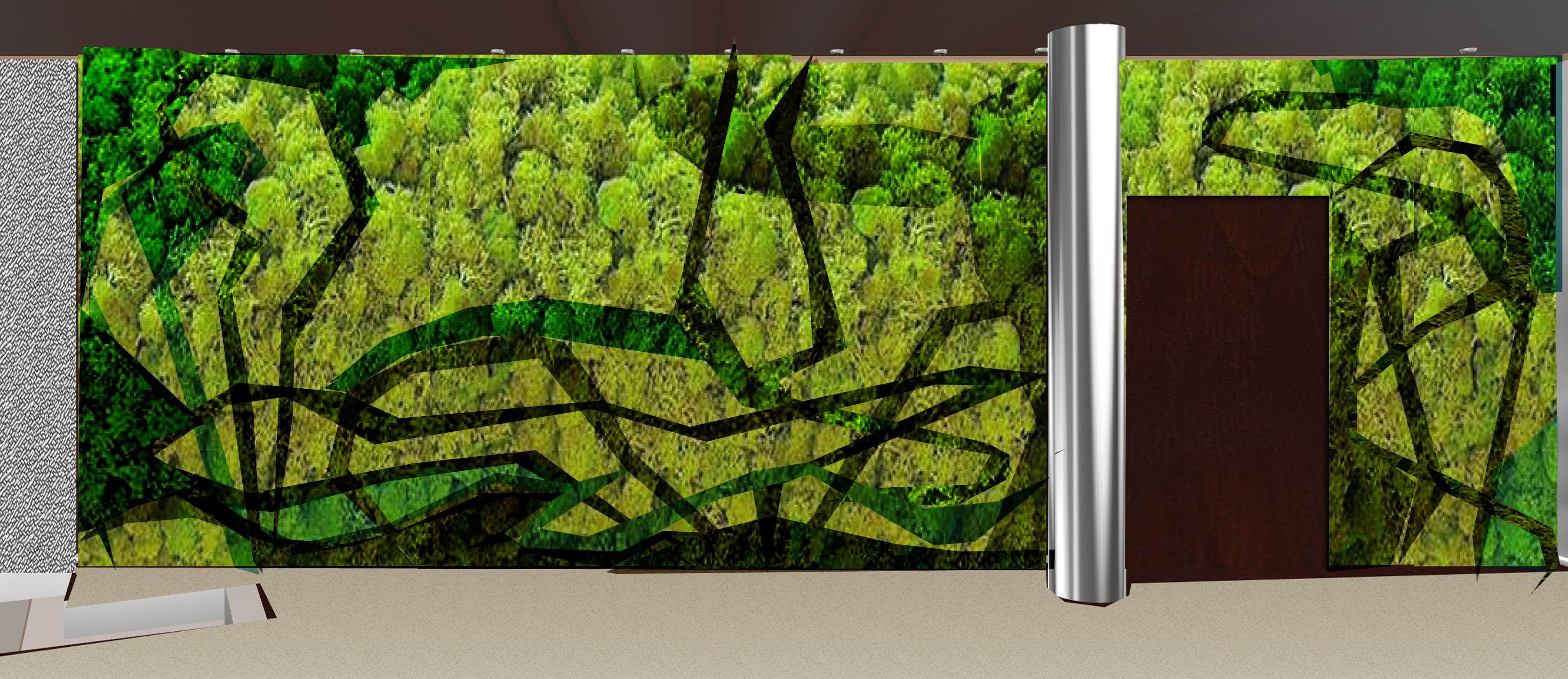 Bajorrelieve vegetal en 3 colores para el hotel mercure for Tela para muro verde